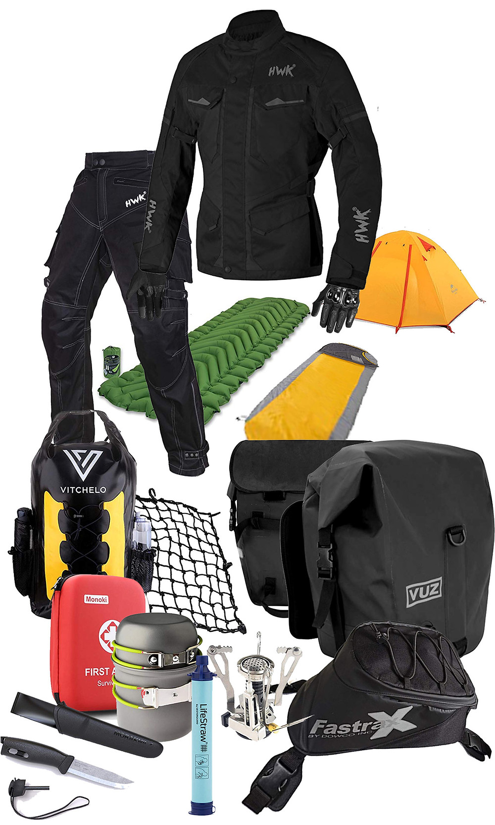 a collection of adventure gear comprising a complete starter kit for adv rand dual sport riding / motorcycle camping. all for under $600