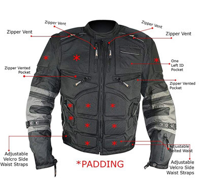 Xelement MORPH riding jacket front view features