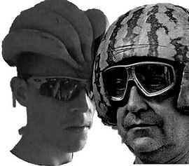 silly picture of men wearing fruits for helmets