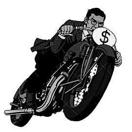 cartoon of man on motorcycle with dollar sign for number plate