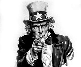 the caricature Uncle Sam asking for riders to share resources