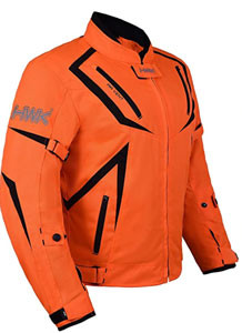Dual Sport Jacket Front view of Hi Vis Orange HWK Motorcycle Riding gear recommended by story Moto adv