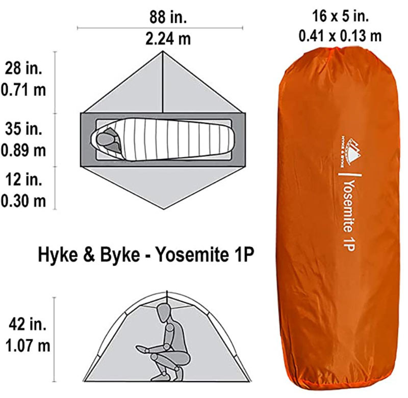 HYKE AND BYKE Yosemite Backpacking tent technical specifications-story Moto adv