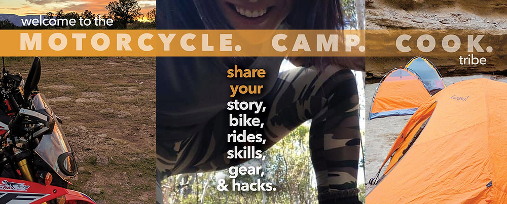 Header for Story Moto ADV Facebook group called Motorcycle. Camp. Cook.