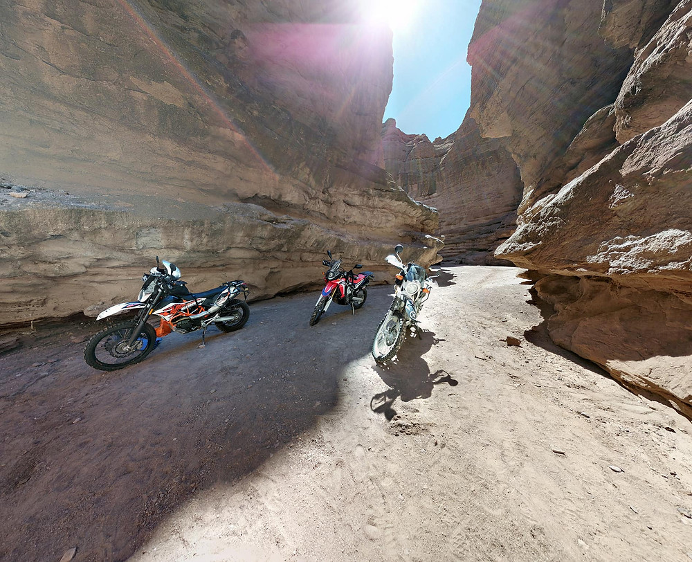 KTM 690, 250L Rally and XT250 in beautiful slot canyon