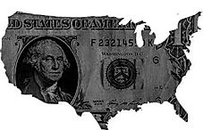 United States masked with a dollar bill