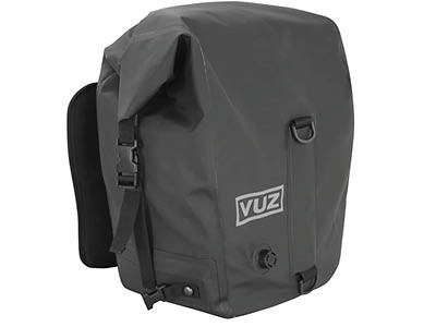 Vuz brand soft panniers for adventure riding motorcycles and motorcycle camping in general