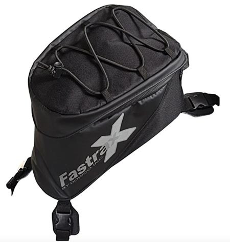 The Dowco Fastrax Xtreme adventure motorcycle tank bag used by Story Moto ADV when motorcycle camping
