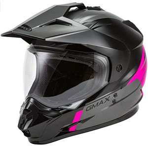 PINK HIGHLIGHTED GMAX GM-11D DUAL SPORT HELMET FOR  ADVENTURE RIDING AND MOTORCYCLE CAMPING OFFROAD