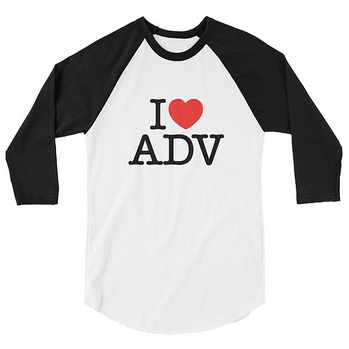 I HEART ADV    ∞    Unisex 3/4 sleeve raglan shirt