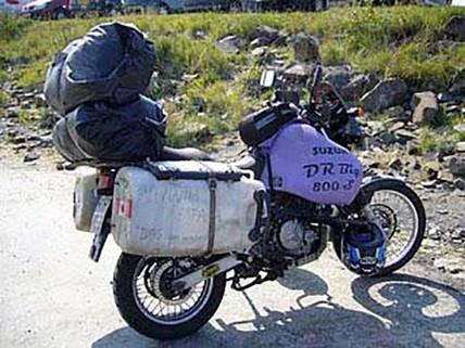 Steve Martin Leaves Society-Over Packed ADV Bike-Story Moto ADV Internet Oddest Motorcycles