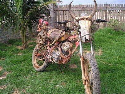 Because Creepy AF - odd skull bearing mad max of the west motorcycle