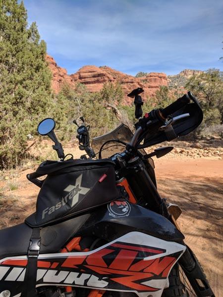 The Dowco Fastrax Xtreme tank bag on a KTM 690 Endure R motorcycle camping in Sedona Arizona