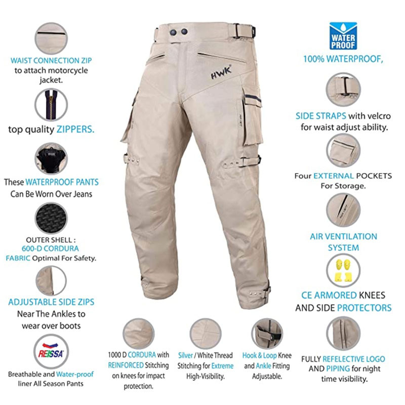 Specifications view of HWK Dual Sport Riding Pants recommended by Story Moto ADV