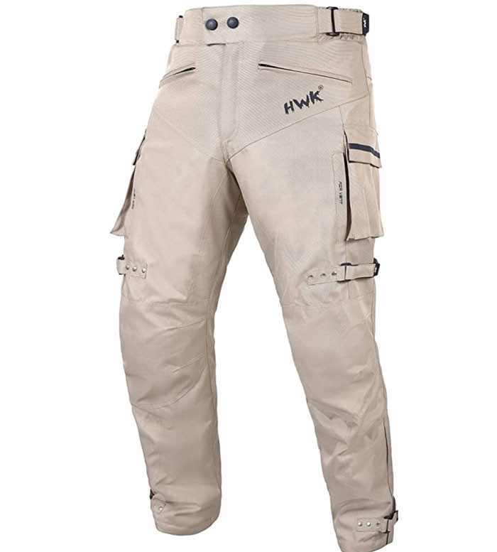 Front view of HWK Dual Sport Riding Pants recommended motorcycle riding gear by Story Moto ADV