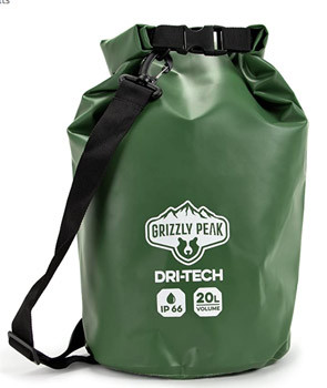Grizzly Peak Dri-Tech Waterproof Dry Bag, IP 66 Lightweight Roll-Top Sack with Adjustable Straps