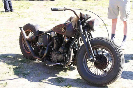 A wonderfully customized cafe cruiser motorcycle