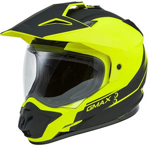 HI-VIZ GREEN GMAX GM-11D DUAL SPORT HELMET FOR  ADVENTURE RIDING