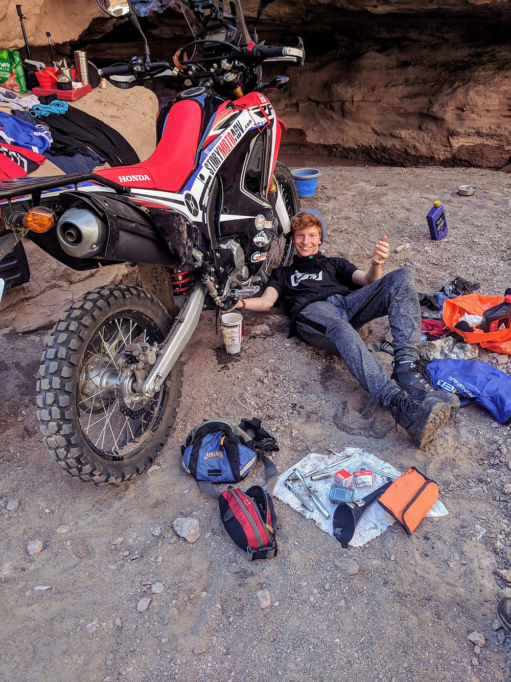 Zane Johnson in month 3 of his 2 year adventure tour on a 250L Rally