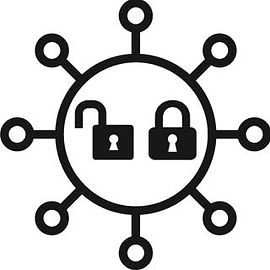 COVID-19 icon graphic with padlock to indicate closures and openings