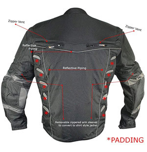 Xelement  MORP riding jacket rear view features