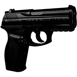 BLACK AND WHITE IMAGE OF A MODERN PISTOL