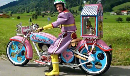 Dad Left The House Too Early-odd motorcycle pink man-Story Moto ADV Internet Oddest Motorcycles