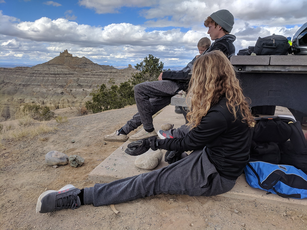 story moto adv adventure family at Angel Peak in New Mexico