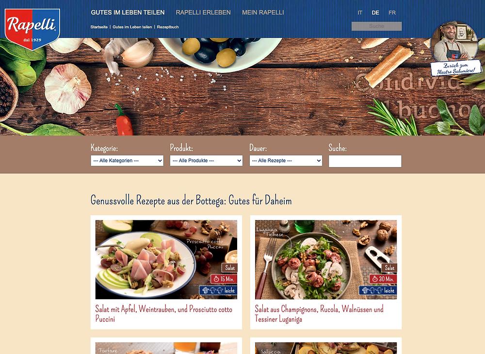 Screenshot Rapelli Website - Rezepte Datenbank