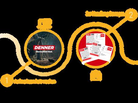 Denner: Online User erkannt, persönlichen Gutschein postalisch zugestellt, Neukunden in  Filialen.