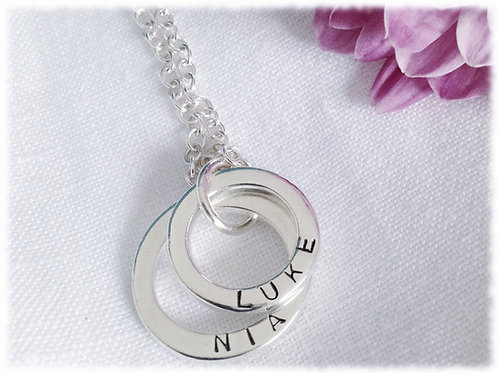Personalised Stamped Two Ring Necklace