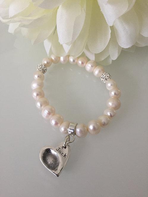 Fingerprint Pearl Bracelet