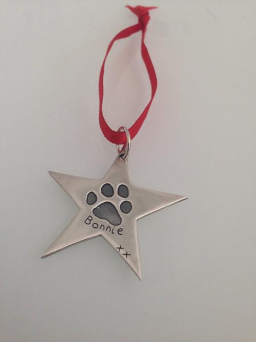 Pawprint Christmas Star