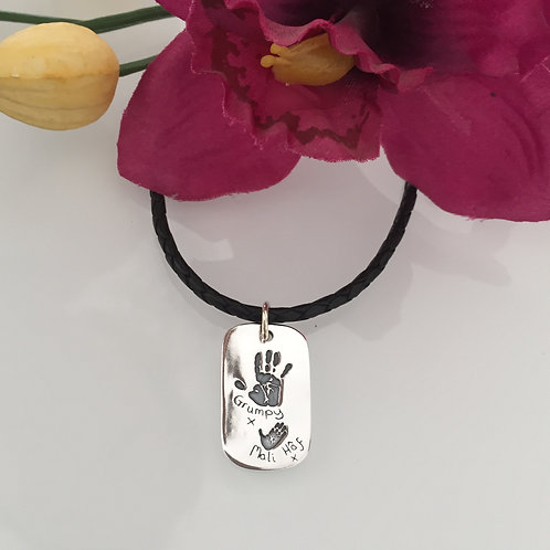 Handprint Dog Tag on a Leather Cord