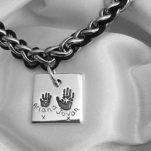 Handprint Men's Leather and Steel Bracelet