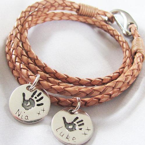 Multiple Handprint Leather and Steel Bracelets