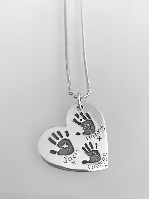 Triple Handprint Necklace