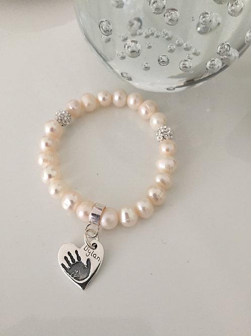 Handprint Pearl Bracelet