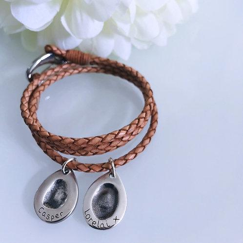 Multiple Fingerprint Leather Bracelets