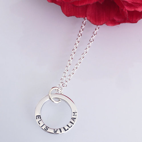 Personalised Stamped One Ring Necklace