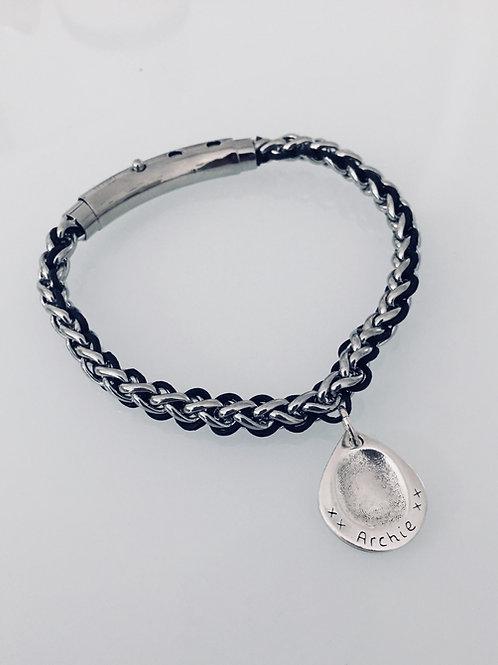 Fingerprint Men's Leather & Steel Bracelet