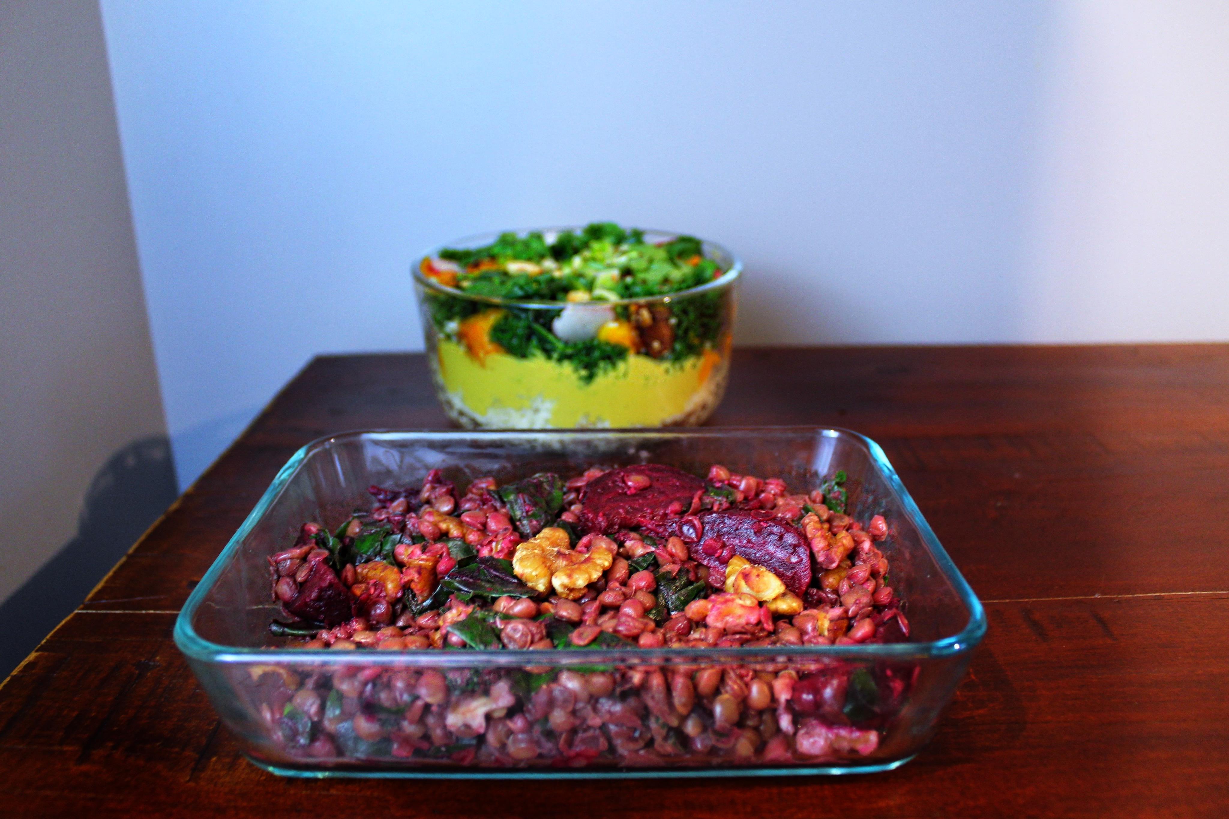 Lentil Salad and Peanut Curry Bowl.