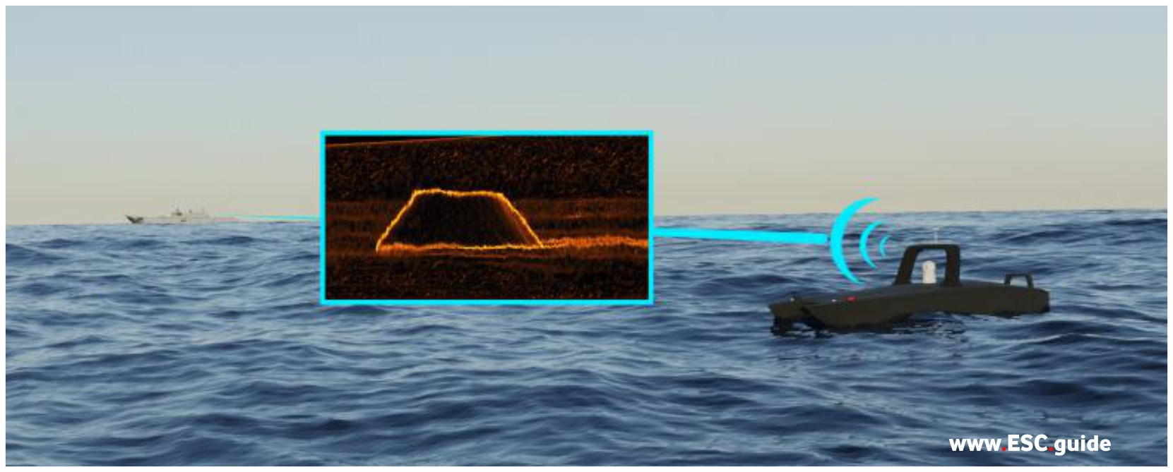 MANTAS T12 locates a mine on the bottom and sends real-time video back to a command vessel offshore.