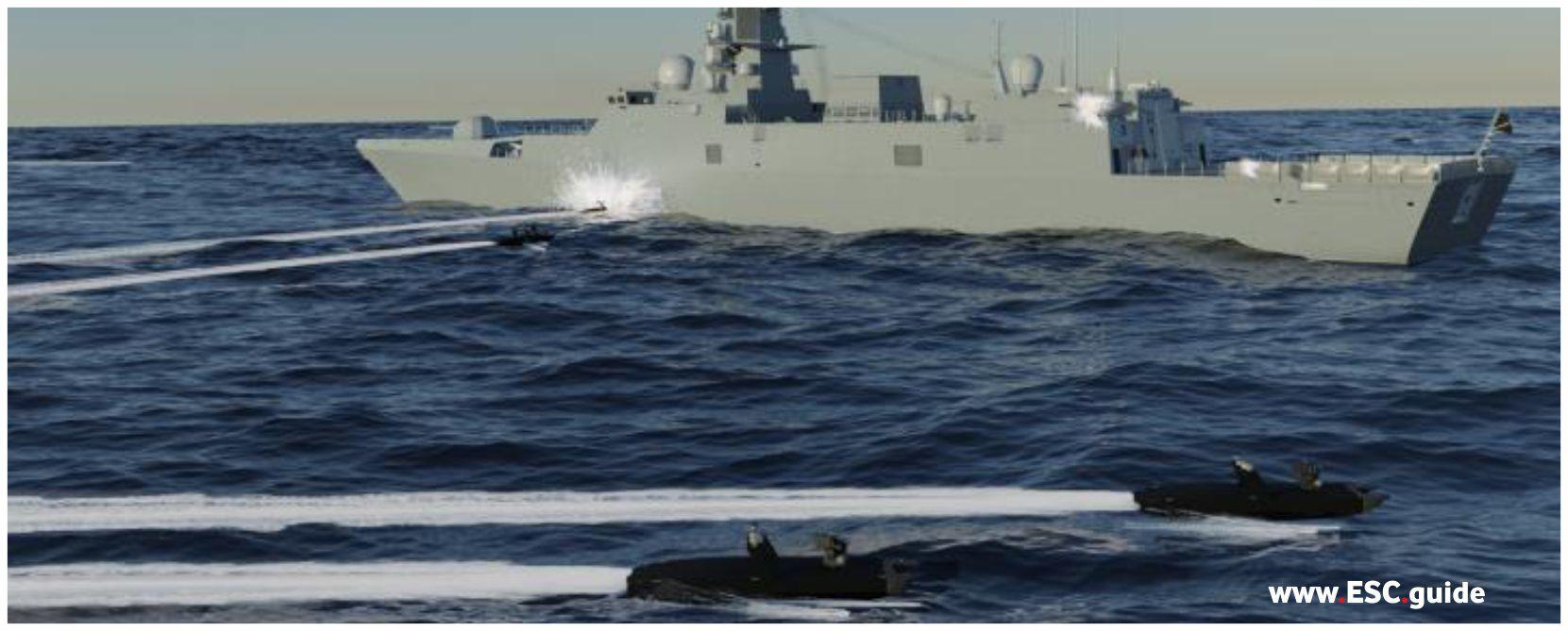 MANTAS T38 attack adversarial vessel in swarm.