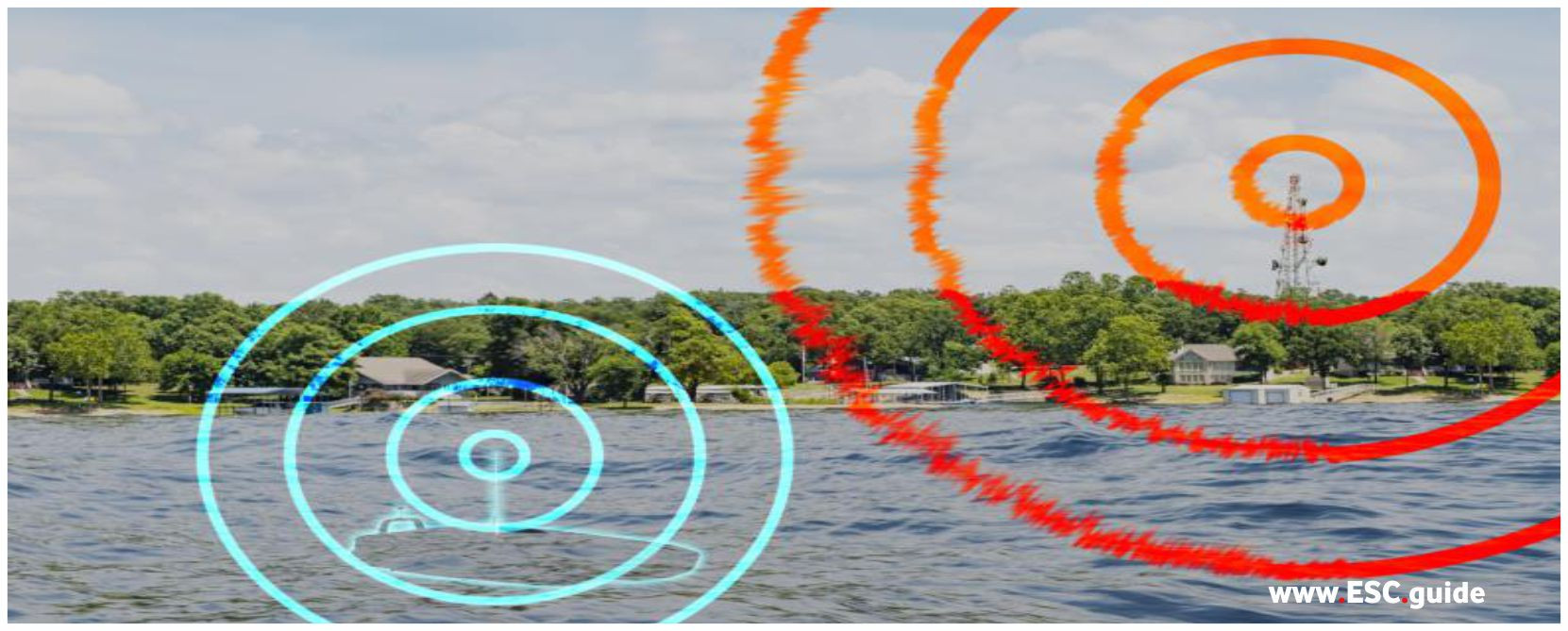 MANTAS EW is jamming signals from a shore antenna.
