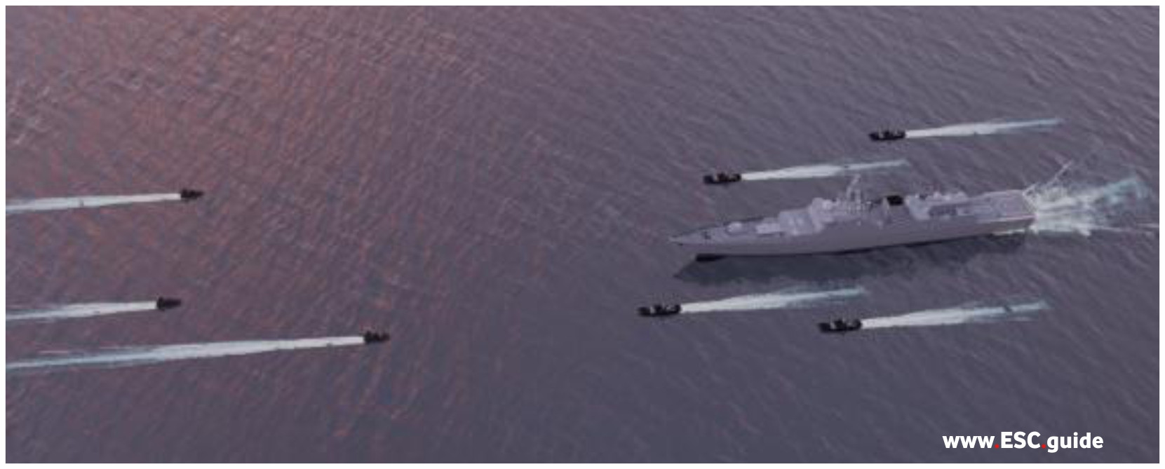 Small fast attack craft converge on frigate and MANTAS Defenders.