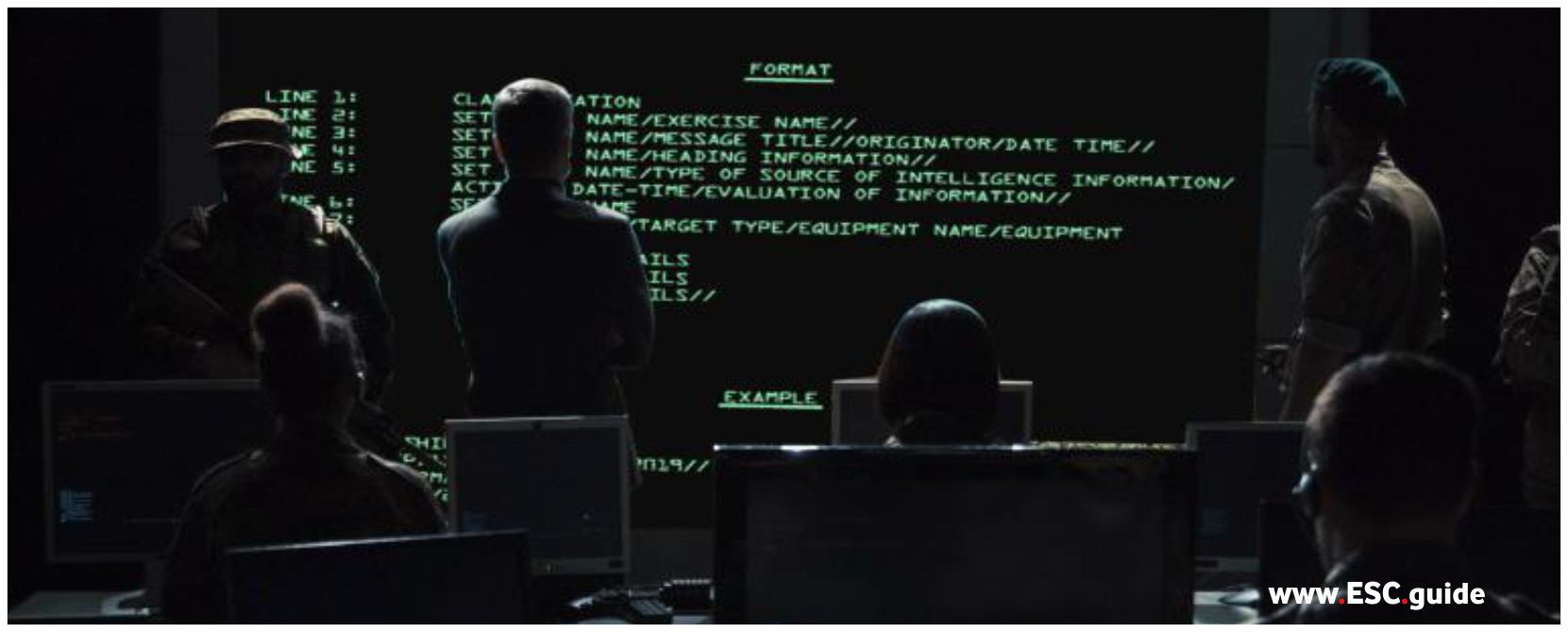 Military message is displayed on screen at fleet command.