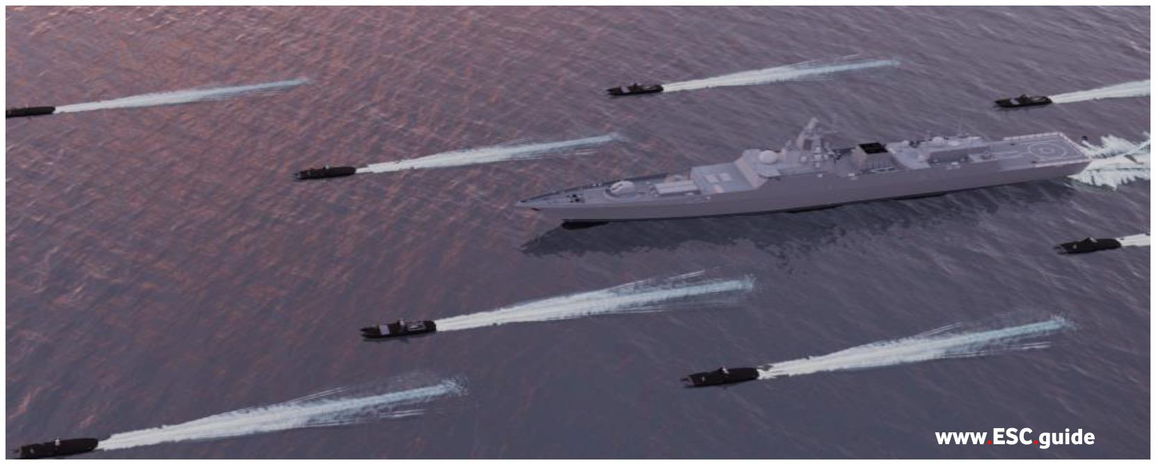Integrated into in fleet operations to protect frigates, tankers, supply ships, etc. from danger. Can provide lethal or non-lethal support as a force multiplier.