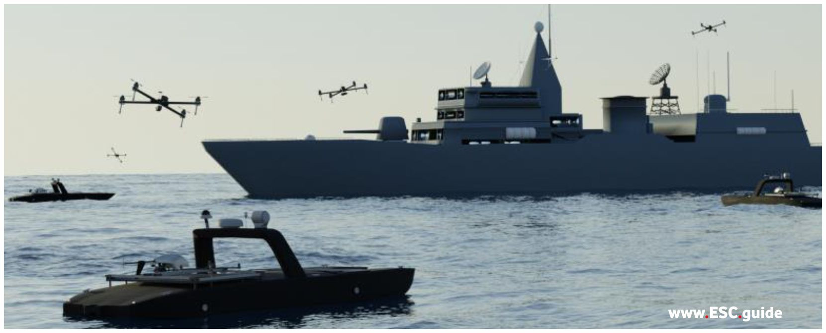 Swarm utilizes UAV and USVs to harass adversarial vessel.