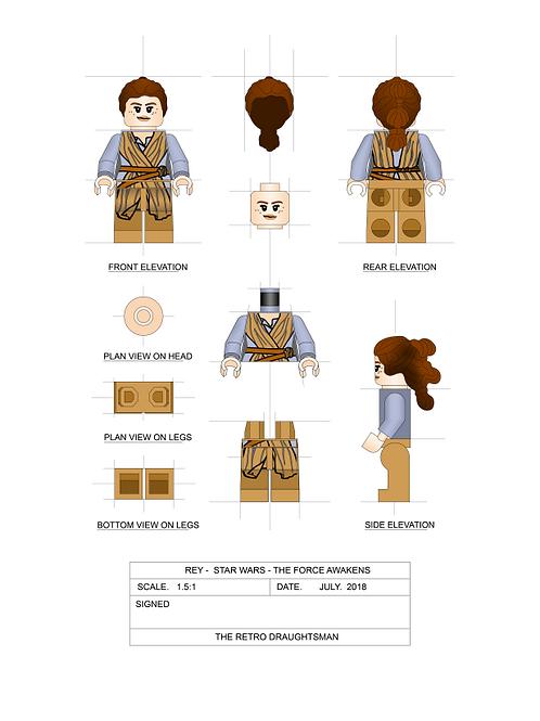Rey - Minifigure - Art Print